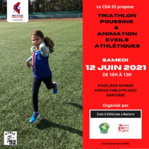 Triathlon poussins et Animation éveils athlétiques au Stade Jean Guimier de Nanterre